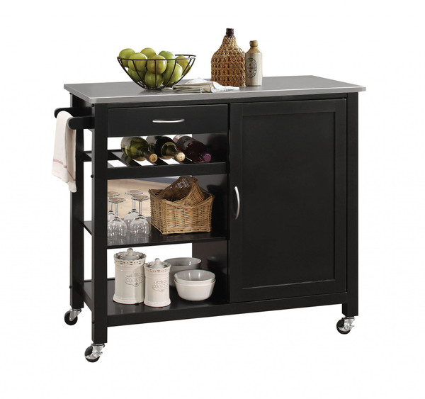 """Homeroots 42"""" X 18"""" X 34"""" Stainless Steel And Black Kitchen Island 286676"""