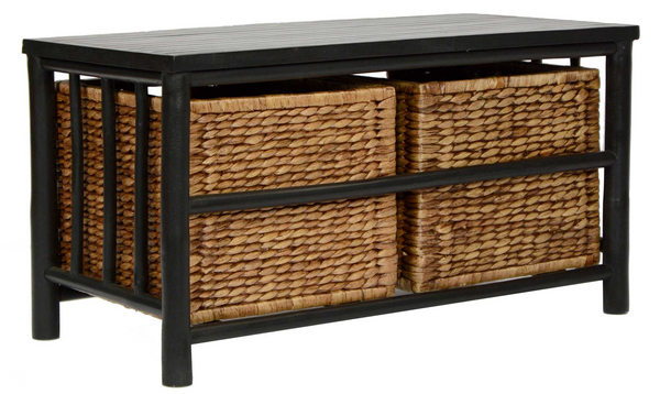 "Homeroots 16.75"" Black And Brown Bamboo Storage Bench With 2 Baskets 294766"