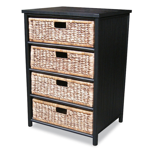 "Homeroots 32"" Black And Brown Bamboo Storage Cabinet With 4 Baskets 294774"