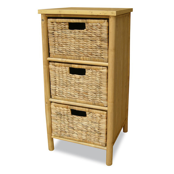 "Homeroots 33.75"" Natural Bamboo Storage Cabinet With 3 Hyacinth Baskets 294778"