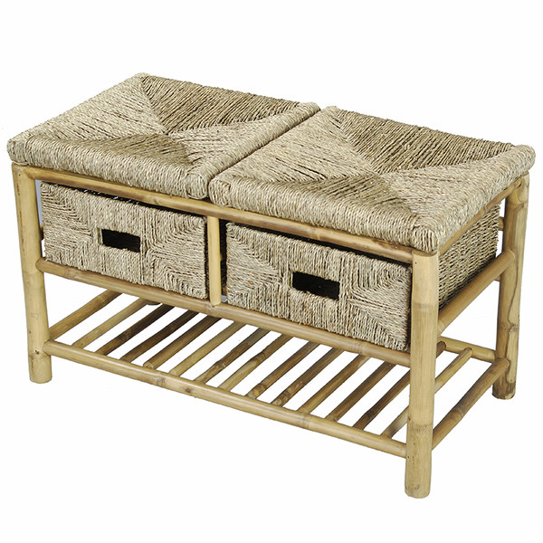 """Homeroots 18"""" Bamboo Frame Storage Bench With A Shelf And 2 Baskets 294783"""