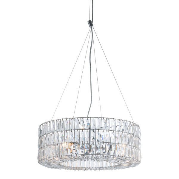 """Homeroots 23.2"""" X 23.2"""" X 8.9"""" Chrome Crystal Metal Ceiling Lamp 295019"""