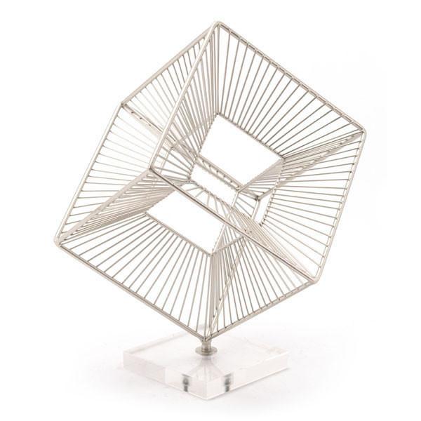 "Homeroots 10.4"" X 12"" X 14.2"" Three Dimensional Silver Cube Sculpture Figurine 295050"