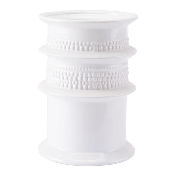 "Homeroots 8.5"" X 8.5"" X 11.9"" White Cylinder Vase 295067"