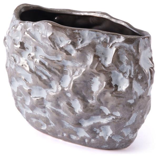 "Homeroots 10.2"" X 4.7"" X 7.1"" Small Brown And White Metallic Stones Vase 295167"