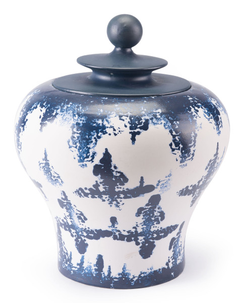 "Homeroots 16.1"" X 16.1"" X 19.7"" Blue & White, Ceramic, Medium Temple Jar 295350"