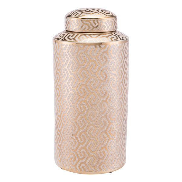 """Homeroots 7.7"""" X 7.7"""" X16.1"""" Gold And White Zig Zag Covered Jar 296055"""