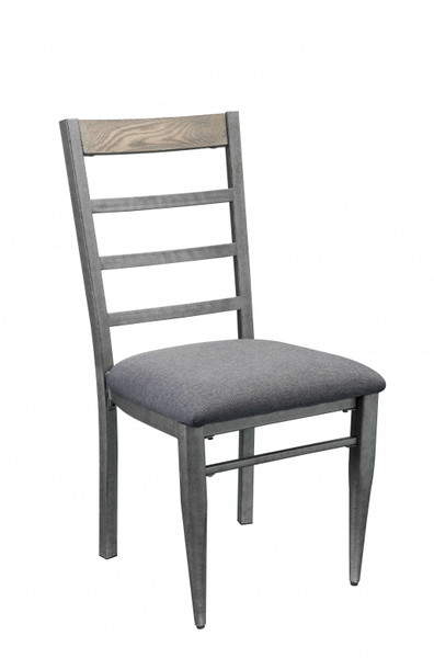 """Homeroots 19"""" X 22"""" X 38"""" Gray Fabric And Antique Gray Side Chair (Set Of 2) 318917"""