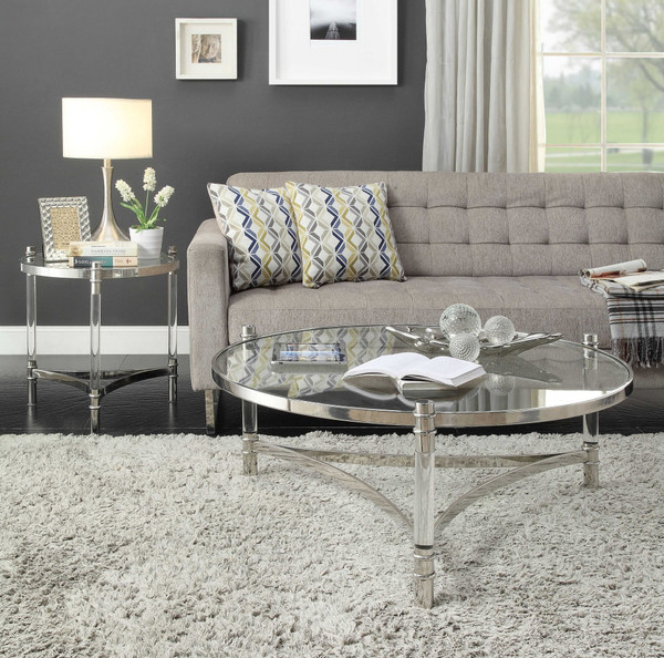 """Homeroots 20"""" X 20"""" X 24"""" Stainless Steel, Clear Acrylic And Glass End Table 318955"""