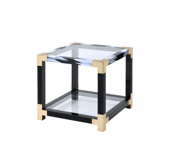 """Homeroots 25"""" X 24"""" X 25"""" White Brushed Gold And Clear Glass End Table 318999"""