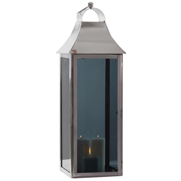 H-1134 Horizon Smoky Glass Square Lantern Large