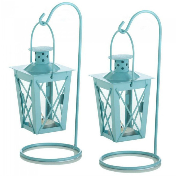 Hanging Railroad Lanterns Pair - Baby Blue 10017408 By AE Wholesale