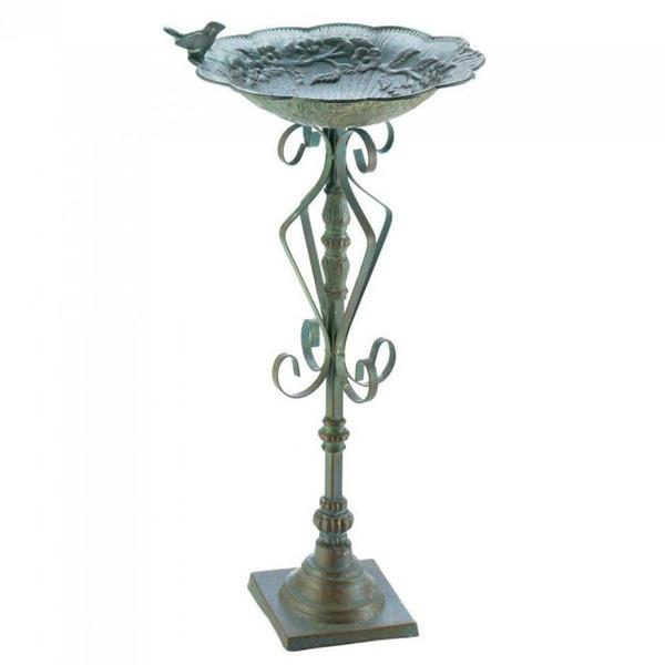 Antique-Look Green Speckled Iron Birdbath 10018499 By AE Wholesale