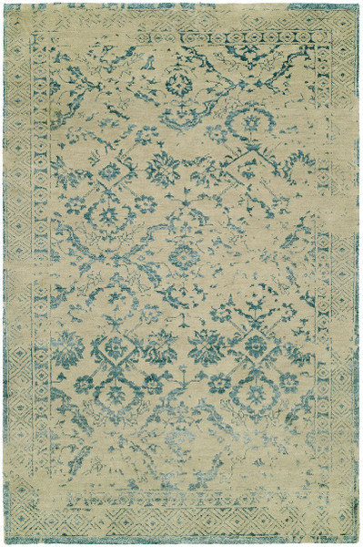 """11087 Castle CS-11 Beige/Turquoise Hand Knotted Rug - 7'9""""x9'9"""""""