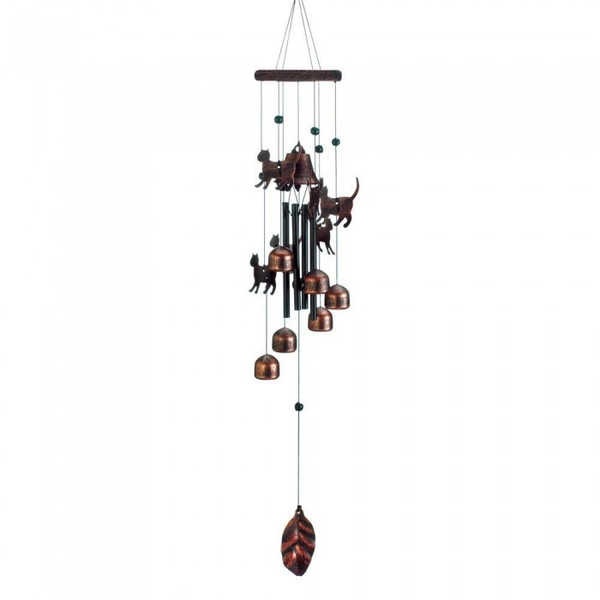 26-Inch Bronze Wind Chimes With Bells And Cats 10018630 By AE Wholesale