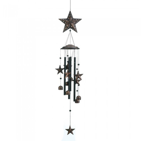 Bronze Wind Chimes With Stars And Bells - 34 Inches 10018632 By AE Wholesale