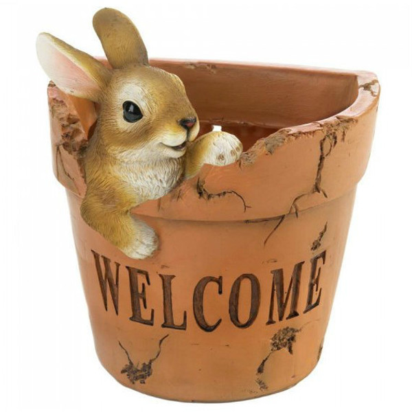 Playful Bunny Welcome Planter 10018694 By AE Wholesale