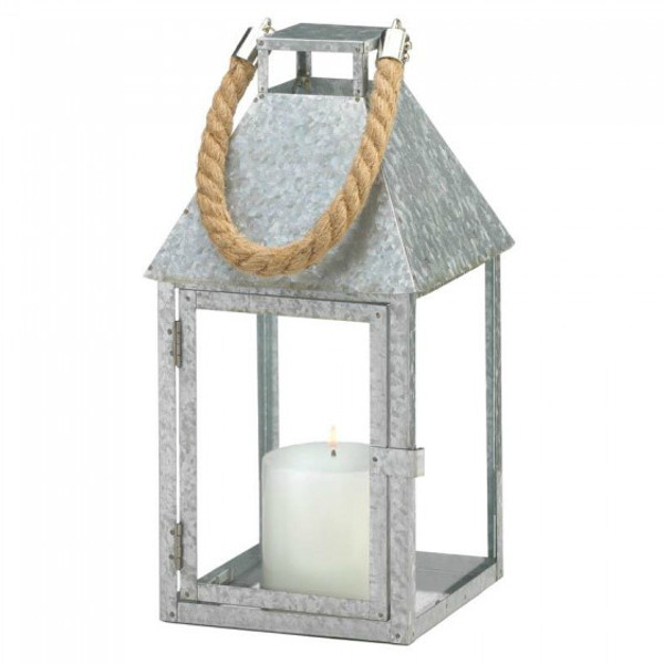 Galvanized Metal Candle Lantern With Rope Handle - 12 Inches 10018828 By AE Wholesale