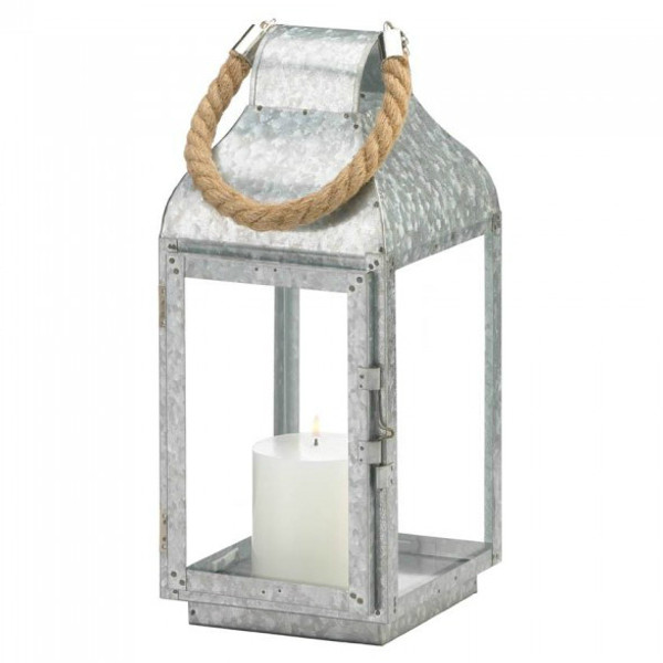 Galvanized Metal Candle Lantern With Rope Handle - 13 Inches 10018829 By AE Wholesale