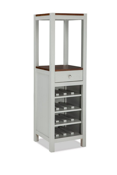 Intercon Small Space Dining Vertical Wine Cabinet - Cherry and Gray SS-CA-1860-CYG-C