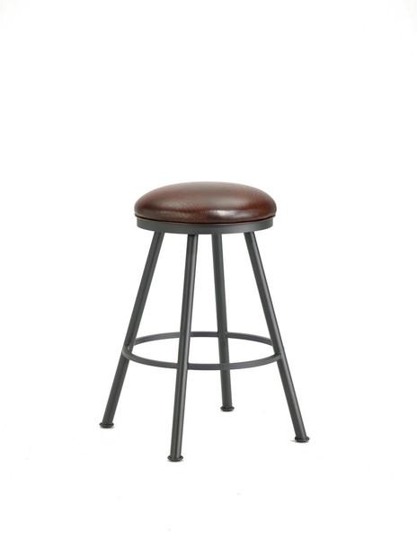1102130 Alexander Backless Bar Stool - Black/Alligator Brown Seat