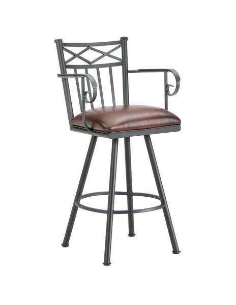 1104130 Alexander Bar Stool With Arms - Black/Alligator Brown Seat
