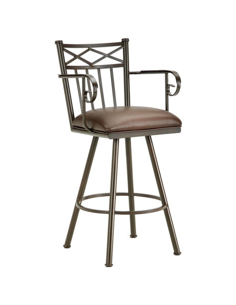 1104430 Alexander Bar Stool With Arms - Rust/Ford Brown