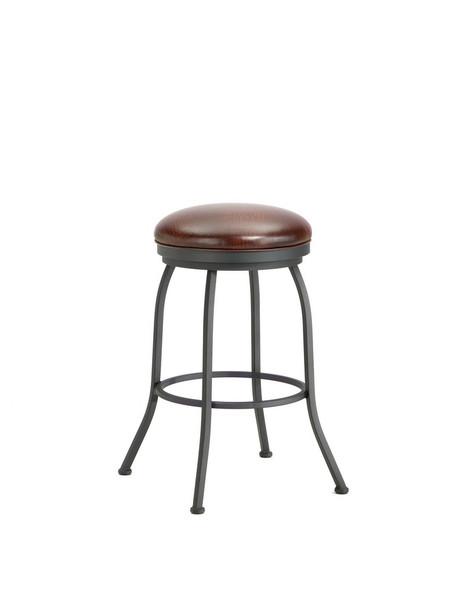 2002130 Fiesole Backless Bar Stool - Black/Alligator Brown Seat