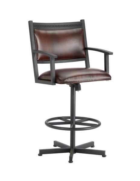 2405130 Humphrey Tilt Swivel Bar Stool - Black/Alligator Brown Seat