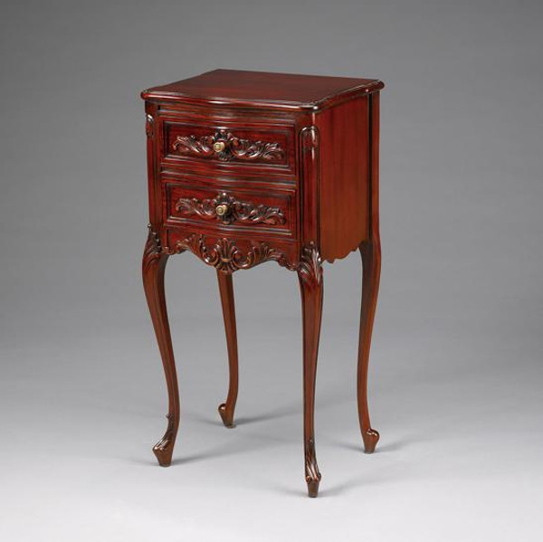 11349 Vintage Square Louis XV Side Table In Dark Brown Finish