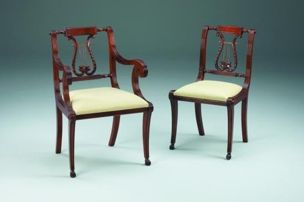 11403 Vintage Lyre Style Side Chair In Dark Brown Finish