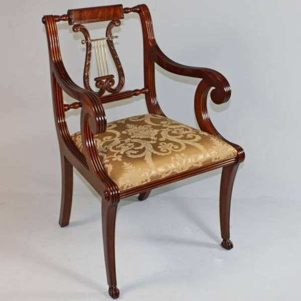11429 Vintage Lyre Style Arm Chair In Brown Finish