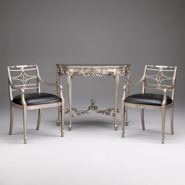11432 Vintage Louis XV Console In Gloosy Brown Finish