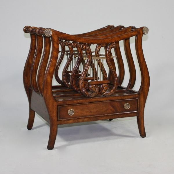 12593 Vintage Lyre Canterbury In Wooden Brown Finish