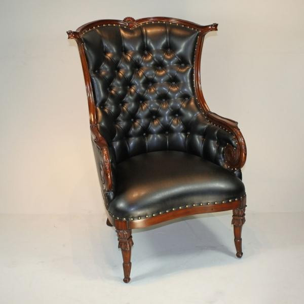 31360 Vintage Fireside A Chair In Black Finish