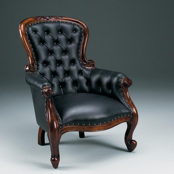 31363 Vintage Grandfather Chair In Black Finish