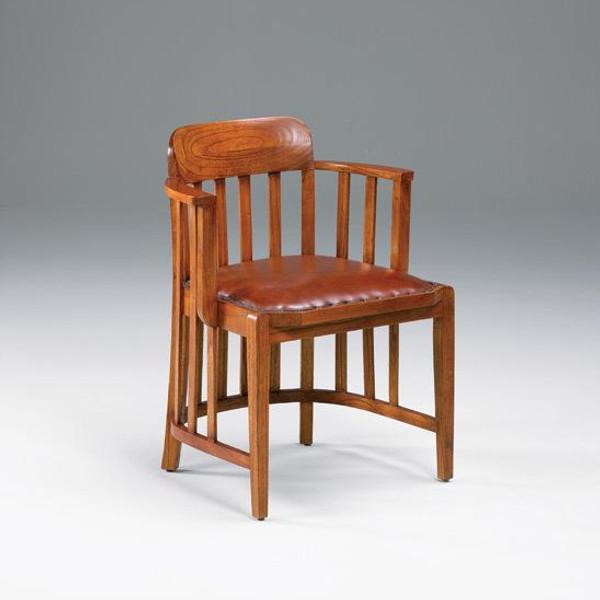 31911 Vintage Small Arm Office Chair In Dark Walnut Finish