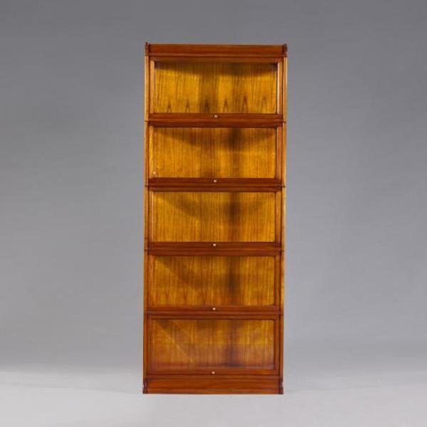 32306 Vintage Rectangular Bookcase Glass Door w/ Lighting In Light Wood