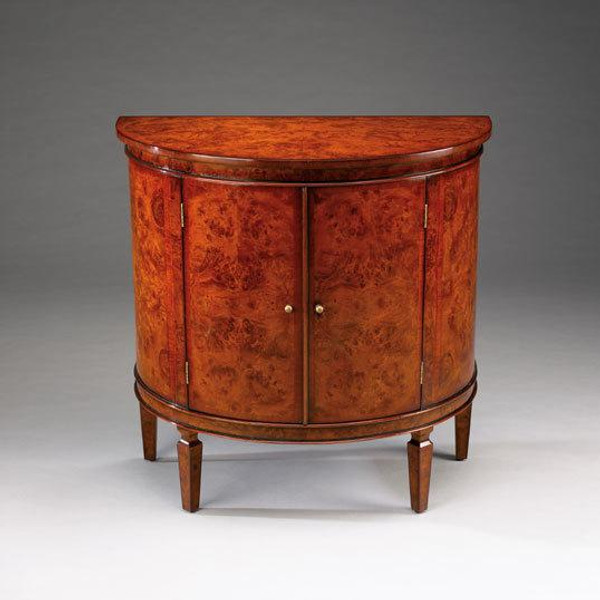 33013 Vintage Mappa Demi Lune Cabinet In Golssy Brown Finish