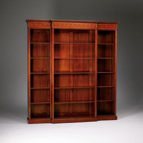 33073 Vintage Breakfront Inlaid Bookcase In Wooden Brown Finish