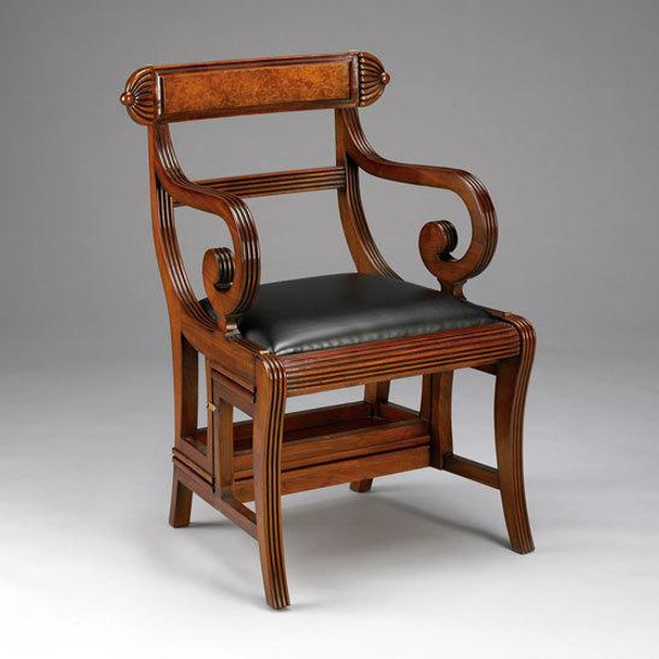 33196 Vintage English Regency Library Chair In Wooden Brown Finish