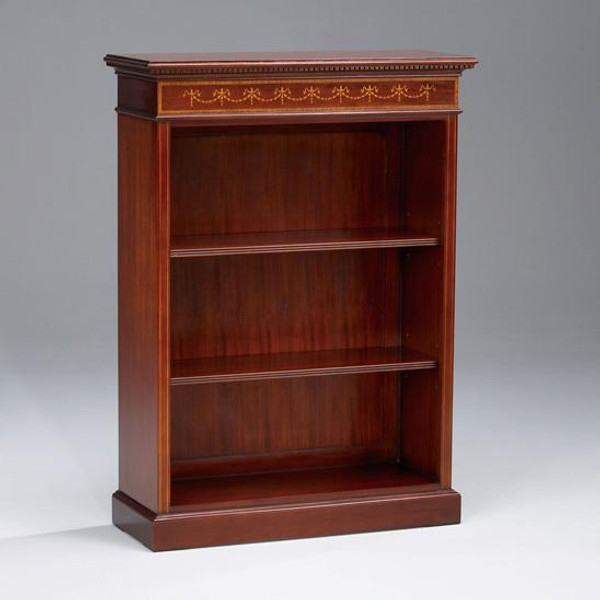 33259 Vintage 1 Section Inlaid Bookcase Half In Brown Finish