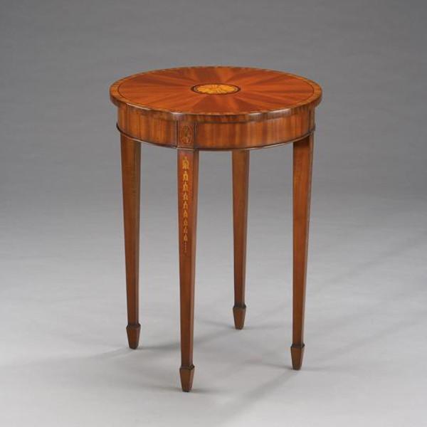 33426 Vintage Hepplewhite Side Table In Brown Finish