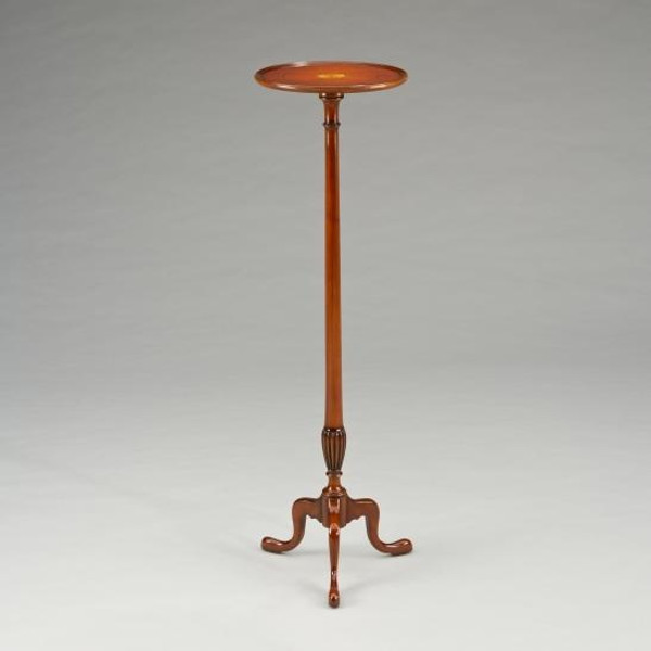 33442 Vintage Inlaid Plant Table Tall In Brown Finish