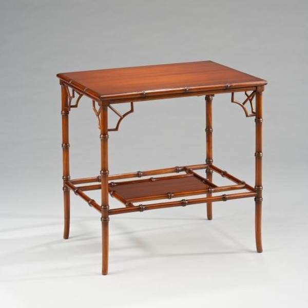 33466 Vintage Bamboo Side Table In Brown Finish