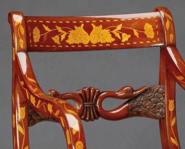 33537 Vintage Arm Chair Inlaid In Brown Finish