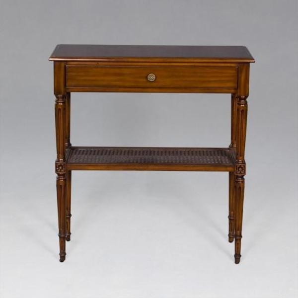 33720 Vintage Rectangular French End Table w/ Ratan Shelf In Dark Brown