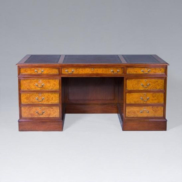 33733 Vintage English Executive Desk In Brown Finish