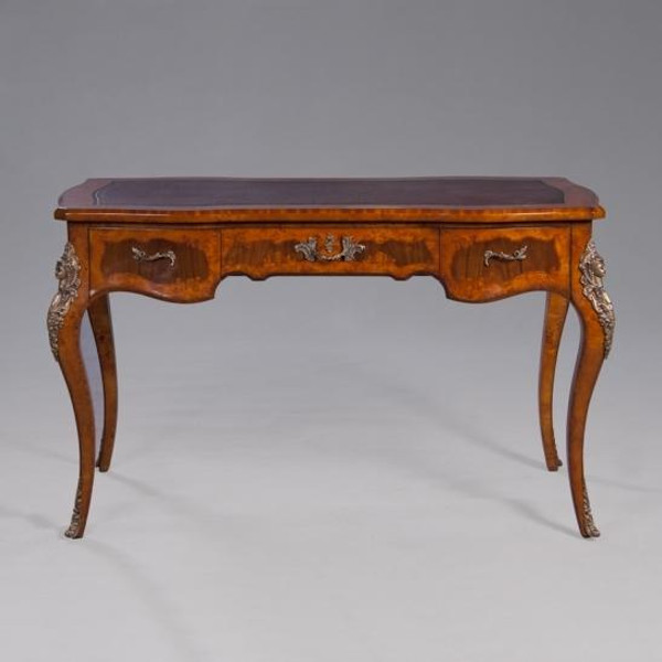 33862L Vintage Rectangular Louis Inlaid Writing Table In Brown Finish