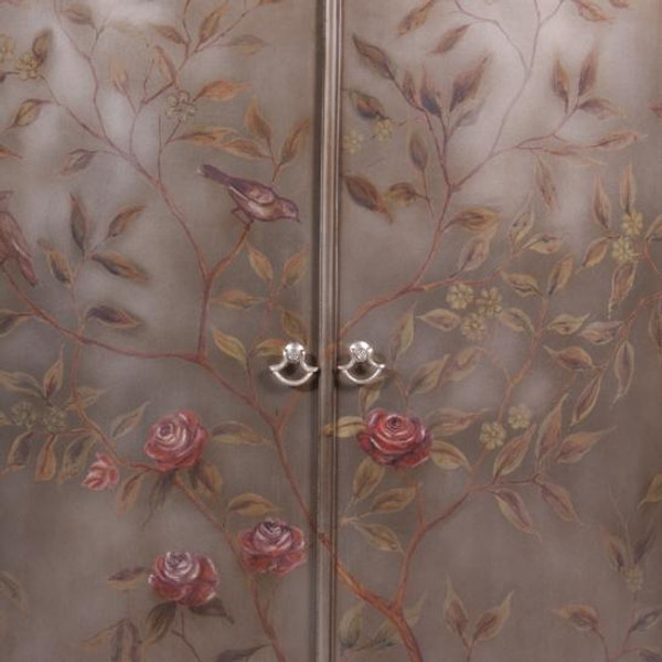 33885 Vintage Demi Lune Cabinet Painted In Tan Finish